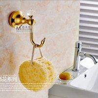 Wholesale And Retail Golden Brass Wall Mounted Bathroom Hooks Clothes Hat Towel Hangers Crystal Coat Hook