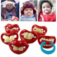 Wholesale Baby pacifier funny pacifier Cute Teeth Mustache Baby Boy Girl Infant Pacifier Orthodontic Dummy Beard Nipples Pacifiers safe DHL Free