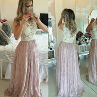 plus size prom dresses - 2015 Pink Lace Prom Dresses with Pearls Sexy See Through Ball Gowns Illusion Neck Formal Dresses Plus Size Evening Dresses for Wedding Event