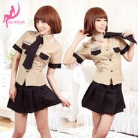 Wholesale Sexy Lingerie female police uniform policewoman fitted uniforms temptation female uniforms a yellowish brown generation of fat