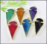 agate - 5pcs Gold Tone Nature Agate Druzy stone Arrow shape pendant Drusy Gem stone Agate pendant in mix color Jewelry findings