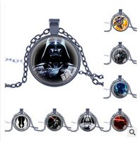 Wholesale Star Wars Necklace Unisex Star Wars Jedi Knight Darth Vader Clone Stormtrooper Round Statement Necklace Pendant Necklace Christmas Gift