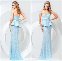 Cheap Princess Light Blue Sweetheart Neckline Evening Dresses Long Lace Beaded Sleeveless with Peplum Mermaid Sweep Train Zipper Prom Dress Gowns