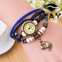 Cuero reloj pulsera corazón Baratos-Armadura de la manera Retro pulsera Relojes Wrap Relojes Piel Corazón relojes de pulsera de cuarzo de las mujeres Relojes Las nuevas mujeres pies de tamaño pulsera brazalete