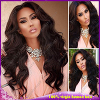 half full - 10 Inch Glueless Full Lace Human Hair Wigs Wavy Unprocessed Virgin Brazilian Body Wave Lace Front Wigs