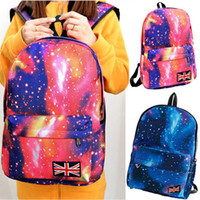 Wholesale 2014 Women printing backpack Galaxy Stars Universe Space School Book Campus student Backpack British flag bag