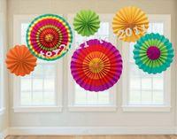 Wholesale Paper Fan ets sets Fiesta Paper Fan Decorations For Wedding Birthday Party Decorations Kids Decoracion Fiestas Decoration Mariage