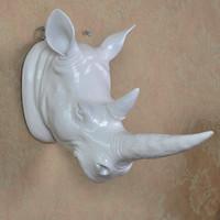 Wholesale European retro creative animal simulation rhino head resin wall living room wall decoration bar