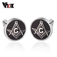 Wholesale TOP Men Jeweley L Stainless Steel Cufflinks Masonic Freemasonry Peace Mens Costume Accessories