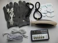 Wholesale 5 in BDSM Electric Shock Bondage Kit Electrode Large Anal Plug Silver Fiber Gloves Ear Labia Clamps Vagina Anal Rings Sticky Pads Sex Toys