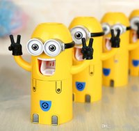 Wholesale Sell WELL Cute Despicable Me Minions Design Set Cartoon Toothbrush Holder Automatic Toothpaste Dispenser with Brush Cup IN stock B162