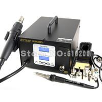 Wholesale ATTEN AT8502D in Intelligence Lead free Hot Air Gun Soldering Station Dual LCD digital BGA SMD Rework Station V W