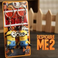 Wholesale Movie Despicable Me Cartoon Characters Design D Minion Keychain JORGE STEWART DAVE Figure Pendants PVC Toy cm Height With Retail Packaging