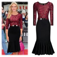 Wear to Work business clothing - Vintage Burgundy Black Women Midi Clothing Lace Mermaid Bodycon Dress Belt Sleeves Evening Party Work Business Office Dress OXL994