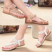 beach slippers women - 2015 retail Summer Ladies Bohemia Floral Flat Shoes Beach Sandals Thongs Slippers Flip Flops with flowers