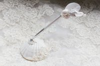 beach party favors - Delicate Handmade Conch Seashell Rhinestone Pearl Feather Pen Set Beach Wedding Sea Element Pen Set Wedding Favors Wedding Party Ornaments