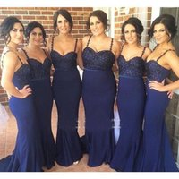 Cheap 2016 Dark Navy Spaghetti Straps Bridesmaid Dresses Sexy New Backless Lace Appliqued Prom Evening Gowns Mermaid Arabic Bridesmaids Dress