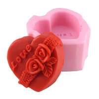 Wholesale Soap Molds Heart Shape - 3D Heart-shaped Flowers Cake Molds Silicone Candle Soap Mold Fondant Chocolate Cake Mold Sugar craft Cake Decorating Tools Q193