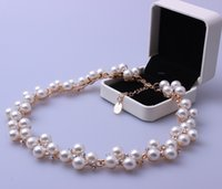 Wholesale New fashion pearl necklace high quality gold plate rhinestone jewelry bride wedding necklaces accessories