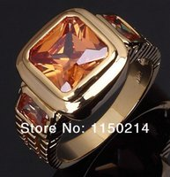 Wholesale Promotion New Fashion Jewelry Size to Man s AAA Topaz Cz K Yellow Gold Filled Wedding Ring Gift R048YCT