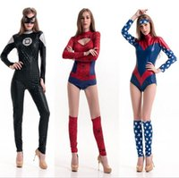 adult spiderman costumes - New Sexy holloween cosplay Superhero Superwomen Adult Female Captain America Costumes Cosplay spiderman christmas costumes high quality