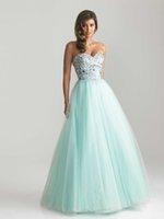 Cheap New Arrival Modern Prom Dresses A Line Sweetheart Floor Length Rhinestone Beaded Sequins Tulle Prom Dress Back Zipper Aqua HD1644