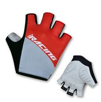 Wholesale 1 pair light weight cycling gloves half finger men and women S M L XL lycra racing gloves red black green blue