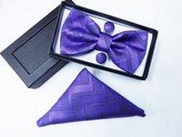 Wholesale Men s bow tie Surface Arrow Suite Bow Tie Hanky with Cufflink Set silk