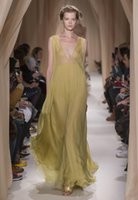 Cheap 2015 Valentino Sping Summer Prom Gowns Yellow A Line Deep V Neck Sexy See Through Chiffon Evening Dresses
