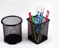 Wholesale Creative stationery fashion round steel mesh plastic rust brush pot The desktop to receive tube