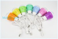 Wholesale 5V W Mobile LED Bulb Lamp Light with USB Interface Hook Cable Line Flexible Plastic for Power Bank Outdoor Travel Camping with retail box