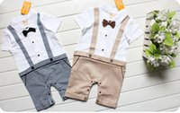 Wholesale 2015 Infant Boy Rompers With Bow tie Boy Gentleman Jumpsuit Baby One Piece Romper Kids Climb Clothes Toddler Plaid Jumpsuits