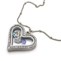 Wholesale 5pcs Crystal Silver Classic Heart Memory Locket Necklace For Floating Charm