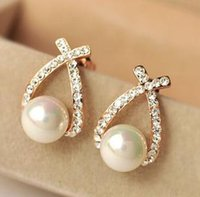 beautiful crossover - beautiful earrings Ms Fashion new Crossover Rhinestone pearl earrings C019