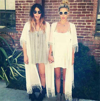 sunscreen - MANGA Tassel Sunscreen Blouses Summer Beach Cool Sunscreen Tops Blouses Chiffon Material Cheap Women Clothing