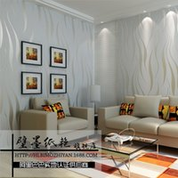 Wholesale Non woven wallpaper flocking modern minimalist D dimensional wave wallpaper shop for living room bedroom background wallpaper