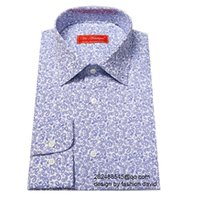 Wholesale white with printed blue paisley mini flower cotton dress shirt man s custom tailor made casual shirt