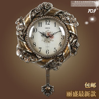Wholesale Lai Sheng No Continental mute living room wall clock sided clock hanging table bedroom pendulum clocks Restaurant