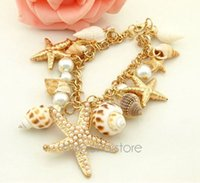 Wholesale Vintage Fashion Ocean Sea Star Starfish Conch Shell Pearl Hand Chain Bracelets Gold Plated Bracelet Women Jewelry MPJ023