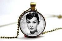 audrey necklace - 10pcs Audrey Hepburn Necklace Twentieth Century Famous Actress Bronze glass cabochon dome pendant necklace