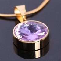 aesthetics china - FC The new titanium steel jewelry sets fashion aesthetic inlay purple gem pendant earrings jewelry KL