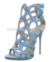 Stiletto Heel sandals for women 2014 - new top fashion GZ blue gladiator zip open women sandals women shoes high heels shoes women sandals for women