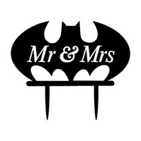 angels bat - Black Acylic Engaged Cake Topper For Wedding Bat Mr Mrs Anniversary Cake Toppers Vintage Wedding Cake Toppers Wedding Supplies New