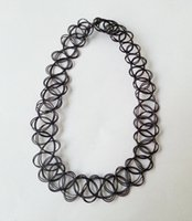 elastic cord - 2014 Hot Sell Vintage hippy stretch tattoo choker necklace elastic chocker black Henna Style