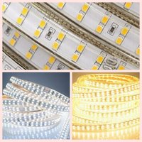 ac double dc - High voltage AC V SMD LED Strips Lighting Double Line LED leds M High bright silicone Tube Waterproof IP67 Led Strip Lights