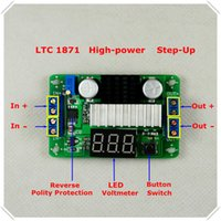 Wholesale DC DCLTC1871 Boost converter Adjustable Step Up High Power Supply Module Blue LED Voltage meter Button Switch