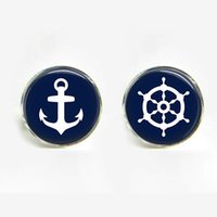 Wholesale 3 pairs Men Cufflink Shirts High Quality Anchor And Steering Wheel Cufflinks Gold Silver Cufflinks