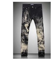 beauty fashion pants - Men s fashion flower pants Beauty printed jeans High quality print pattern slim denim trousers cvbftu6