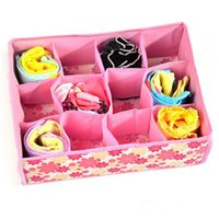 Wholesale SALES Folding Grid Storage Box CM Non Woven Fabric Blue Pink Clothing Organizer For Bra Underwear Socks