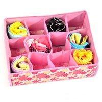 Wholesale Storage Box For Socks - SALES Folding 12 Grid Storage Box 31*23*11CM Non-Woven Fabric Blue Pink Clothing Organizer For Bra,Underwear,Socks